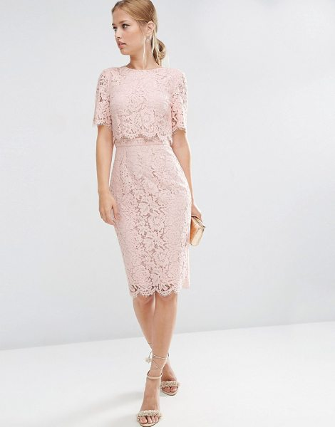 "Asos Lace Crop Top Midi Pencil Dress in pink - """"Pencil dress by ASOS Collection, Lined floral lace,..."