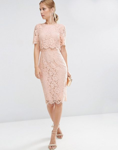 "Asos Lace Crop Top Midi Pencil Dress in pink - """"Pencil dress by ASOS Collection, Lined eyelash lace,..."