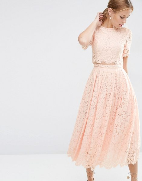 "Asos Lace Crop Top Midi Prom Dress in pink - """"Midi dress by ASOS Collection, Lined floral lace,..."