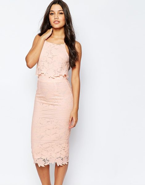"Asos Lace Floral Scallop Midi Dress in pink - """"Dress by ASOS Collection, Textured lace, Slim straps,..."