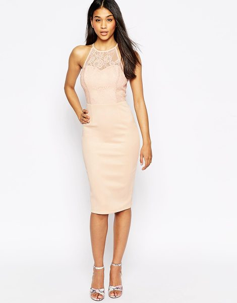 Asos Lace high neck sweetheart midi body-conscious scuba skirt dress in nude - Dress by ASOS Collection Smooth scuba fabric High...
