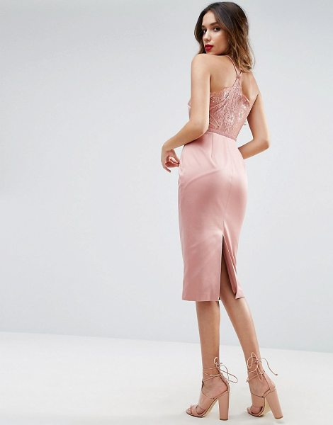 "ASOS DESIGN asos lace insert cami midi pencil dress in pink - """"Pencil dress by ASOS Collection, Satin-style fabric,..."