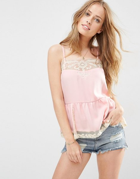Asos Lace Insert Slip Cami Top in pink - Tank by ASOS Collection, Woven fabric, Lace inserts,...