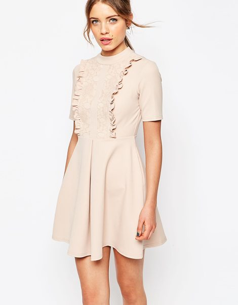 Asos Lace Panel Frill Neck Mini Dress in pink - Dress by ASOS Collection, Woven fabric, Round neckline,...