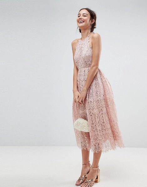 Asos Design Asos Lace Pinny Scallop Edge Midi Prom Dress Nudevotion