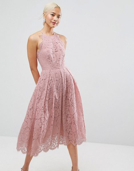 "Asos Lace Pinny Scallop Edge Prom Midi Dress in pink - """"Midi dress by ASOS Collection, Lightweight lined lace,..."