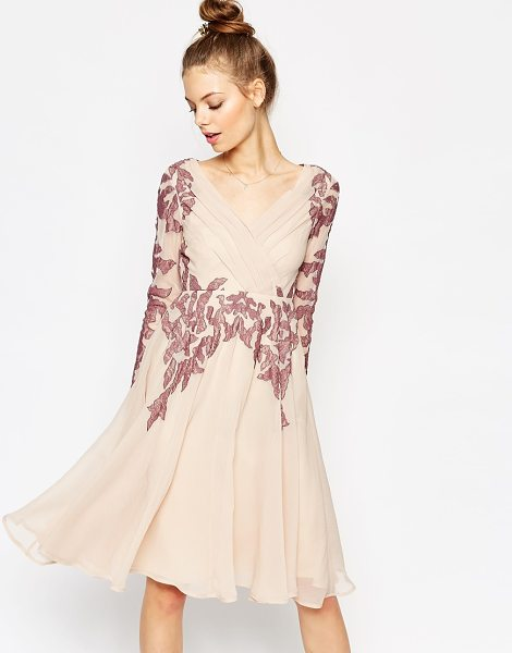 Asos Lace placed caftan skater midi dress in cream