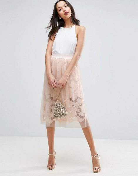 "ASOS DESIGN ASOS Lace Prom Skirt with Tulle Overlay in nude - """"Skirt by ASOS Collection, Layered mesh and lace,..."