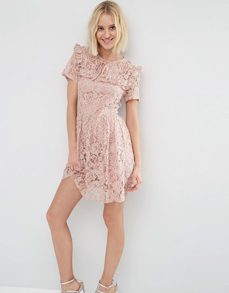 """Asos Lace Ruffle Yoke Skater Dress in pink - """"""""Skater dress by ASOS Collection, Floral lace,..."""