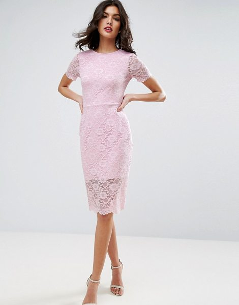 Asos lace scallop t-shirt midi bodycon dress in palepink - Bodycon dress by ASOS Collection, Scalloped lace,...