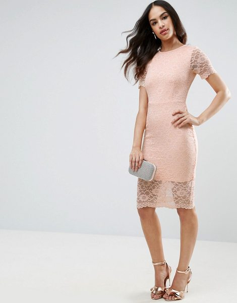 "Asos Lace Scallop T-Shirt Midi Bodycon Dress in beige - """"Midi dress by ASOS Collection, Lightweight lace,..."