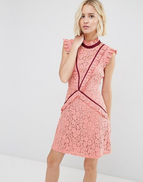 Asos Lace Shift Dress with Ruffle Detail and Contrast Trim in pink - Lace dress by ASOS Collection, Lined lace, High...