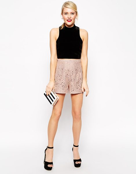 Asos Lace Shorts in pink - Shorts by ASOS Collection, Lined lace, High-rise waist,...