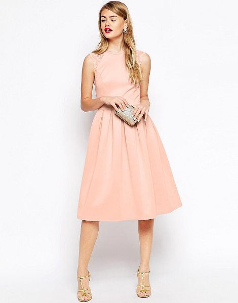 Asos Lace Sleeve Skater Midi Dress in pink - Dress by ASOS Collection, Lightweight scuba, Crew...