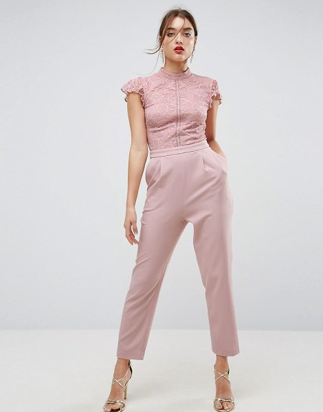 Asos Lace Top Jumpsuit in pink - Jumpsuit by ASOS Collection, Partially-lined lace top,...