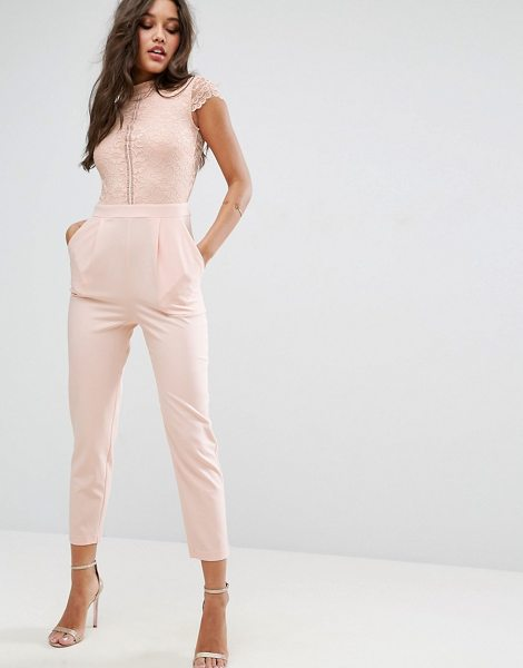 Asos Lace Top Jumpsuit in pink - Jumpsuit by ASOS Collection, Lined woven fabric, Lace...