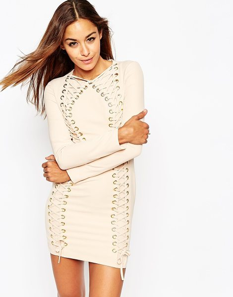 ASOS Lace up contour body-conscious mini dress in nude - Evening dress by ASOS Collection Mid-weight stretch...