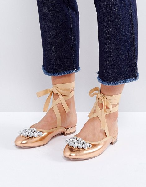 Asos LADY LUCK Embellished Ballet Flats in gold - Shoes by ASOS Collection, Faux-leather upper, Metallic...