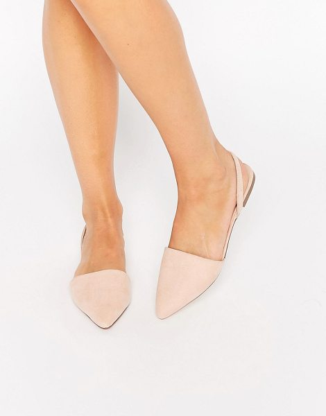 Asos Lainey pointed sling back ballet flats in beige - Flat shoes by ASOS Collection, Leather-look upper,...