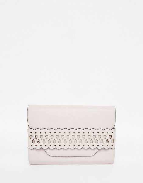 Asos Laser cut slot through clutch bag in nude - Clutch bag by ASOS Collection Faux leather outer Front...