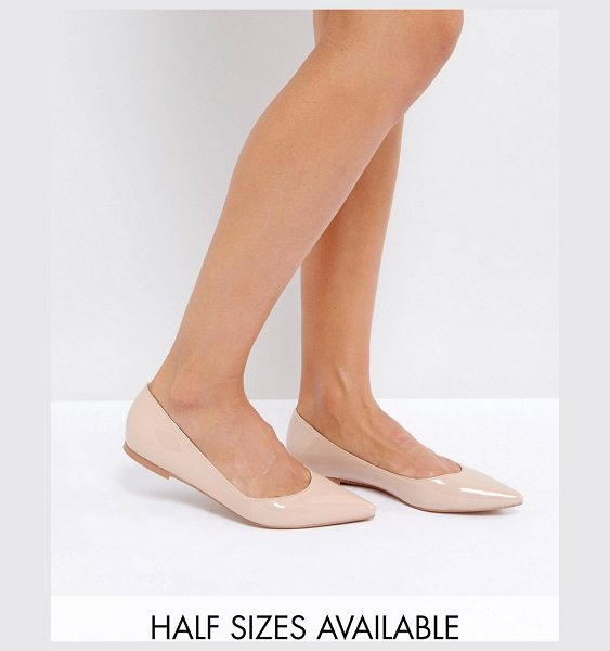 ASOS DESIGN latch pointed ballet flats in almond - Flat shoes by ASOS Collection, Faux-leather upper,...
