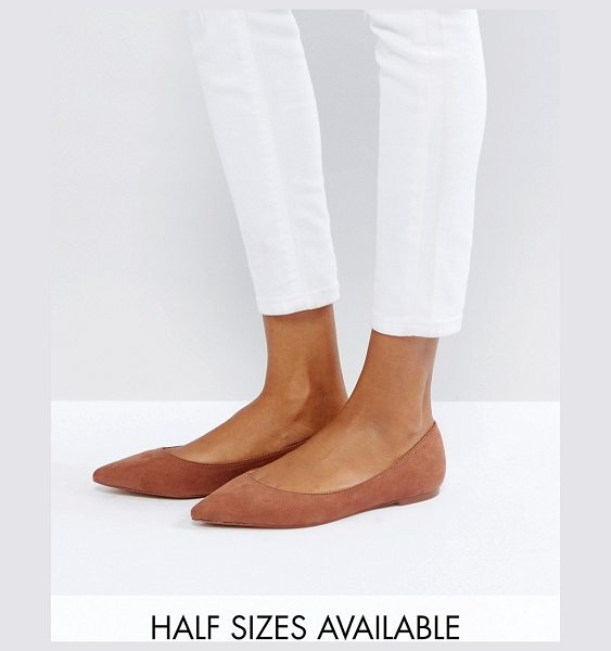 ASOS DESIGN asos latch pointed ballet flats in mocha - Flat shoes by ASOS Collection, Textile upper, Slip-on...