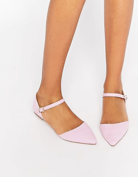 Asos LATE NIGHT Pointed Ballet Flats in pink - Ballet pumps by ASOS Collection, Gingham-check upper,...