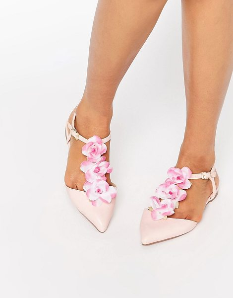 Asos LEAF Flower Pointed T-bar Ballet Flats in pink - Flat shoes by ASOS Collection, Faux-leather upper, T-bar...