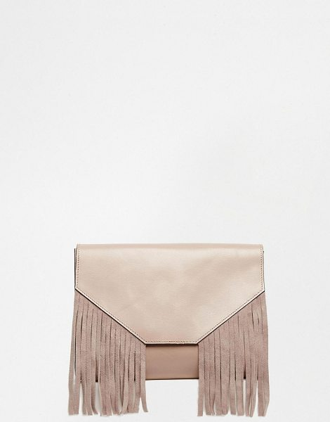 Asos Leather fringed clutch bag in nude - Clutch bag by ASOS Collection Leather fabric outer...