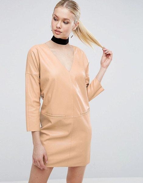 Asos Leather Look Shift mini dress in nude - Dress by ASOS Collection, Faux-leather fabric, V-neck,...