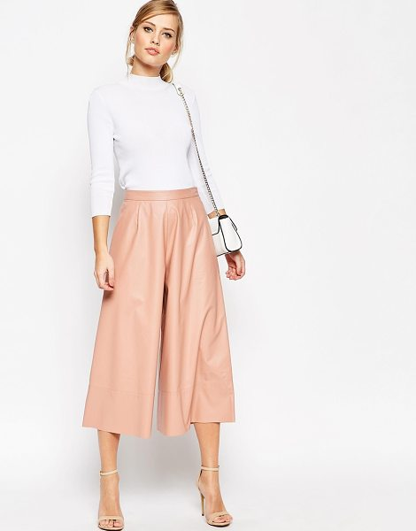 ASOS Leather Look Culottes - Pants by ASOS Collection, Leather-look fabric, Fitted...