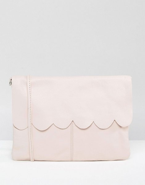 Asos Leather Scallop Cross Body With Detachable Strap in pink - Bag by ASOS Collection, Leather outer, Detachable body...