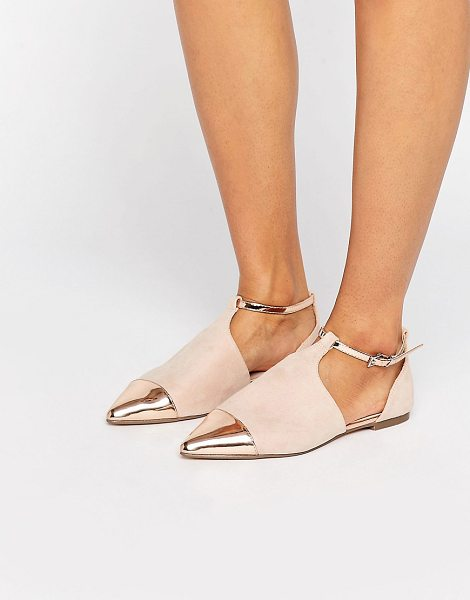 Asos leeds pointed ballet flats in nude - Flat shoes by ASOS Collection, Faux-suede upper,...