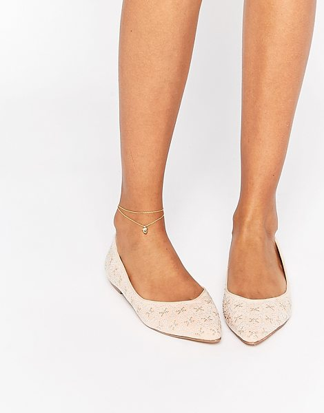 Asos LEYTON Embellished Pointed Ballet Flats in beige - Ballet pumps by ASOS Collection, Textile upper, All-over...