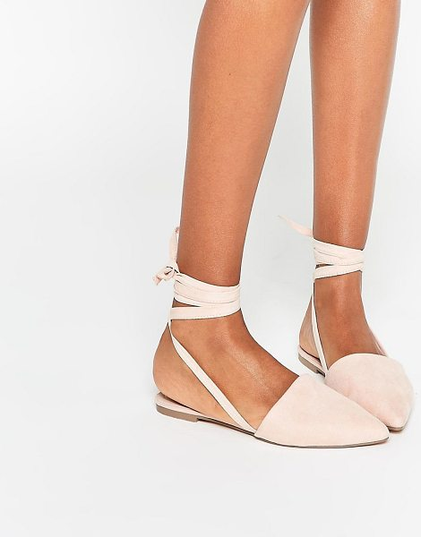 Asos LIFE OF THE PARTY Lace Up Pointed Ballet Flats in beige - Flat shoes by ASOS Collection, Faux suede upper, Pointed...