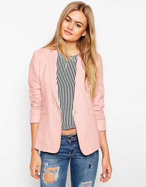 Asos Linen blazer in nude - Blazer by ASOS Collection Lined linen-blend Notch lapels...