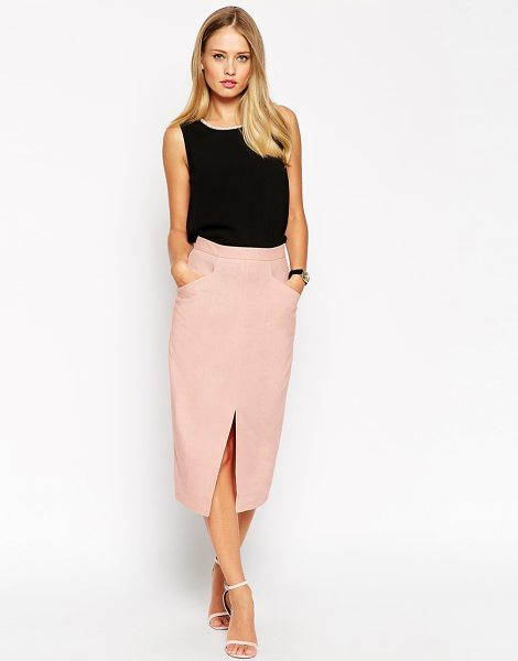 Asos Linen Split Front Pencil Skirt in pink - Pencil skirt by ASOS Collection, Linen mix, Flattering...