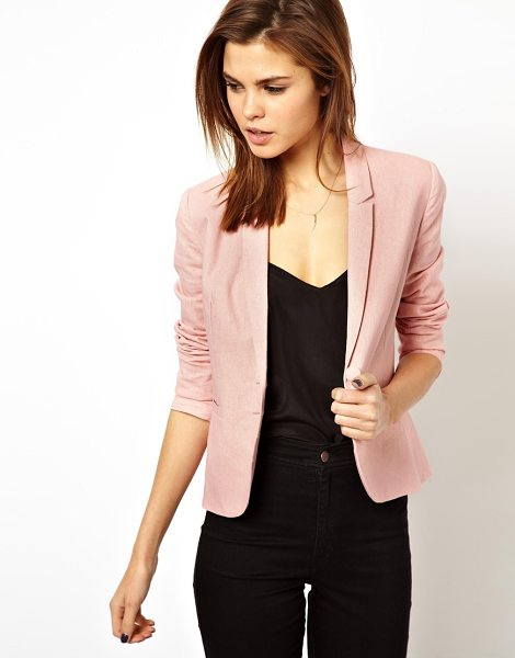 Asos Linen tailored blazer in nude - Dry clean only. Body: 57% Linen, 43% Viscose Lining:...