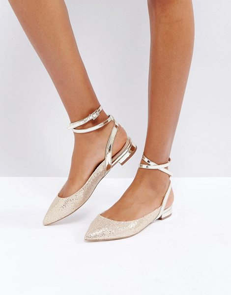 Asos LOLITA Ballet Flats in gold - Flat shoes by ASOS Collection, Textile upper, Metallic...