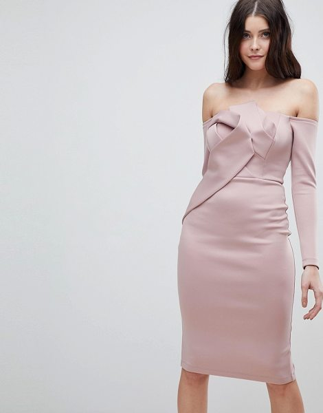 ASOS DESIGN asos long sleeve bandeau origami front midi dress in mink - Midi dress by ASOS Collection, For that thing you have...