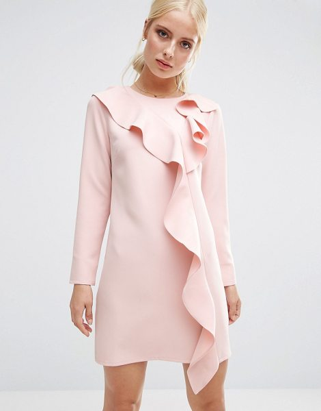 Asos Long Sleeve Shift Dress With Ruffle Front in pink - Dress by ASOS Collection, Midweight woven fabric, Round...