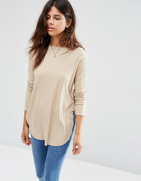 Asos Long Sleeve Top with Side Splits and Curve Hem in stone - Top by ASOS Collection, Stretch knitted fabric, Ribbed...