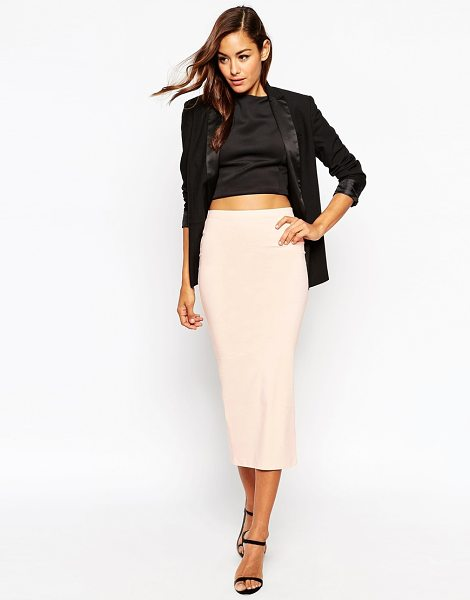 Asos Longer Length Midi Pencil Skirt in beige - Pencil skirt by ASOS Collection, Stretch jersey,...