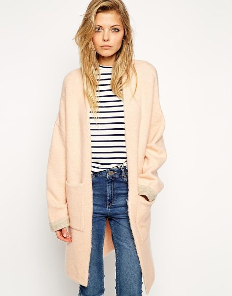 Asos Longline cardigan with patch pockets in nude pink - Cardigan by ASOS Collection Mid-weight, soft touch...