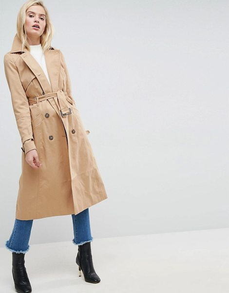 ASOS DESIGN asos longline classic trench coat in stone - Coat by ASOS Collection, Smooth woven fabric, Fully...
