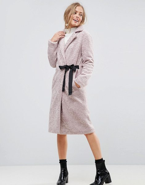 "ASOS Longline Faux Fur Coat with Side Belt Detail - """"Coat by ASOS Collection, Soft-touch faux-fur fabric,..."