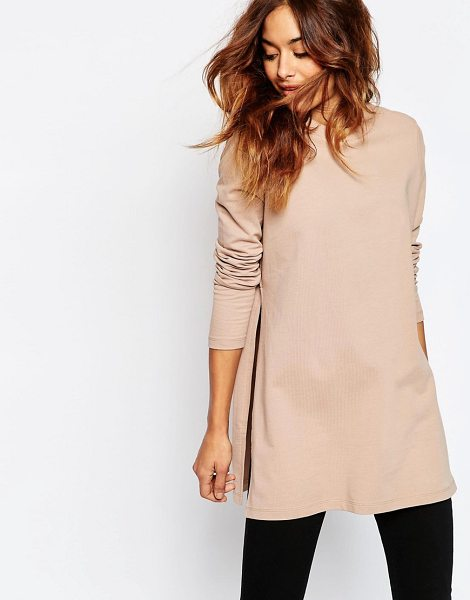 Asos Longline Sweat With Side Splits in pink - Sweatshirt by ASOS Collection, Cotton sweat, Round...