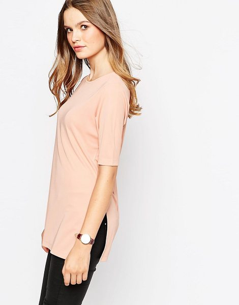Asos Longline top in crepe with splits in pink - T-shirt by ASOS Collection, Crepe jersey fabric, Round...