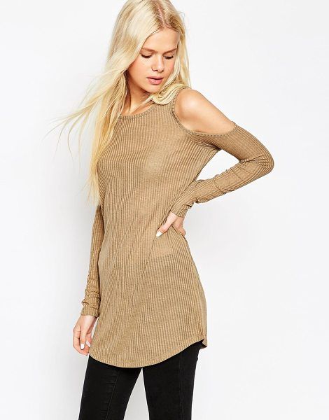 Asos Longline top with cold shoulder in fancy rib with long sleeves in khaki - Top by ASOS Collection Lightweight ribbed jersey...