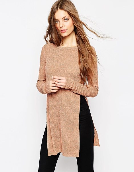 Asos Longline tunic in metallic rib with side splits in gold - Top by ASOS Collection, Lightweight, ribbed knit,...